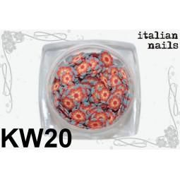 Italian Nails - Kwiatki Fimo - Woreczek 10 sztuk - KW20
