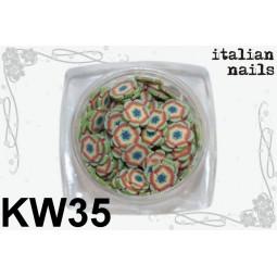 Italian Nails - Kwiatki Fimo - Woreczek 10 sztuk - KW35