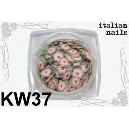 Italian Nails - Kwiatki Fimo - Woreczek 10 sztuk - KW37