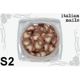Italian Nails - Serduszka Fimo - Woreczek 10 sztuk - S02